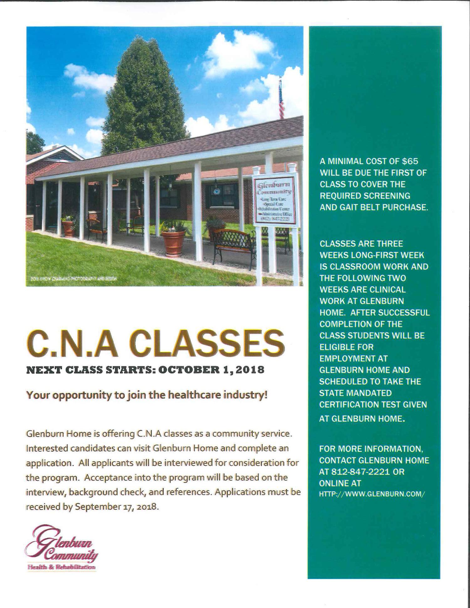 Cna Classes Glenburn Home